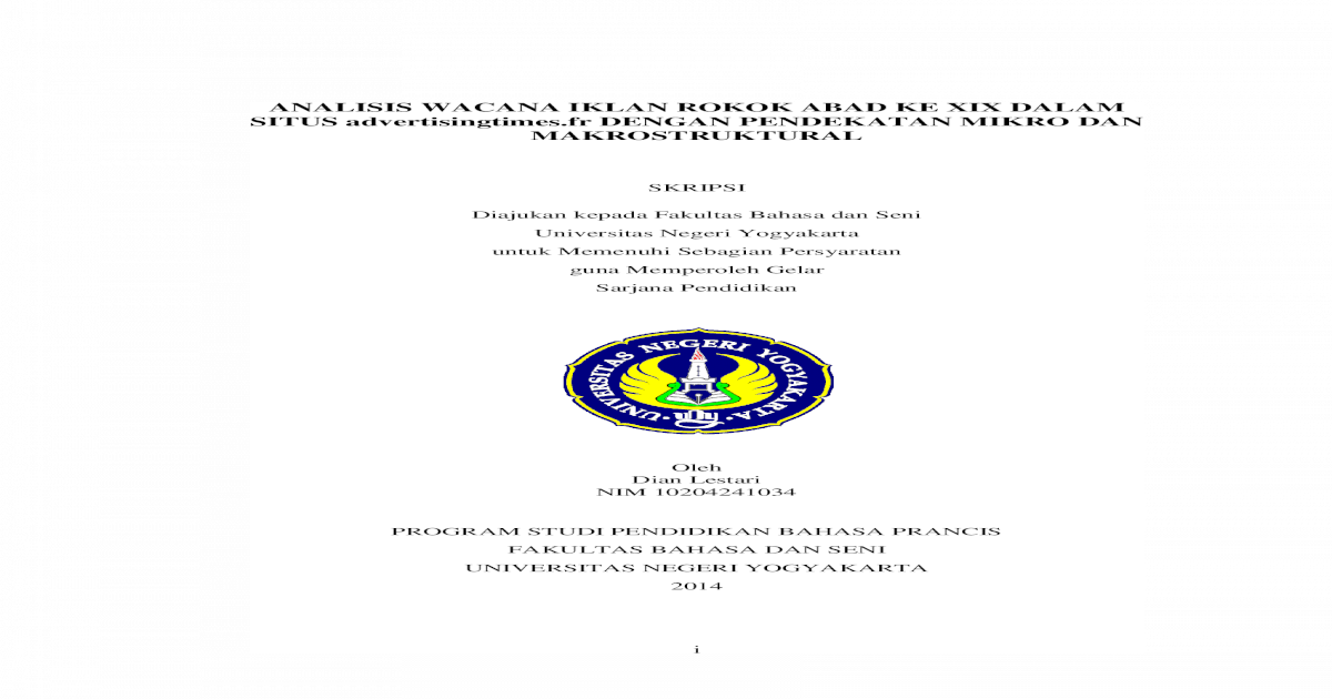 Analisis Wacana Iklan Rokok Abad Ke Xix Dalam Lestari Analisis Wacana Iklan Rokok Abad Ke Xix Dalam Situs Dengan Pendekatan Mikro Dan Makrostruktural Skripsi Diajukan Kepada Fakultas Pdf Document