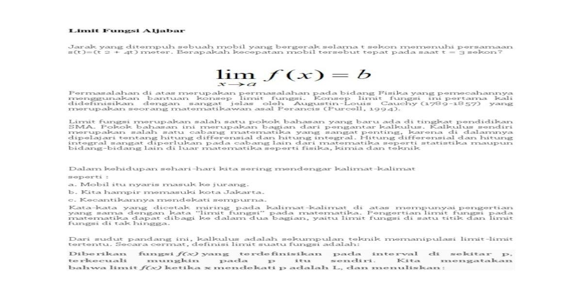 makalah limit fungsi aljabar.docx - PDF Document