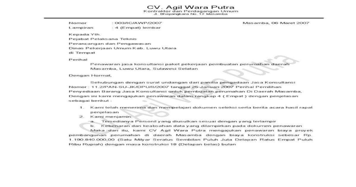 Contoh Surat Penawaran Jasa Konsultan Pajak : Contoh Surat ...