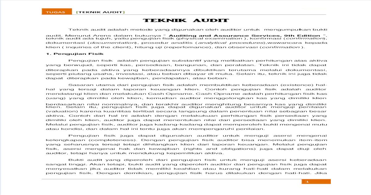 Teknik Audit Pdf Document
