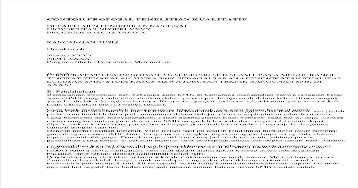 Contoh Proposal Penelitian Kualitatif Pendidikan Matematika Smp Pdf Goresan