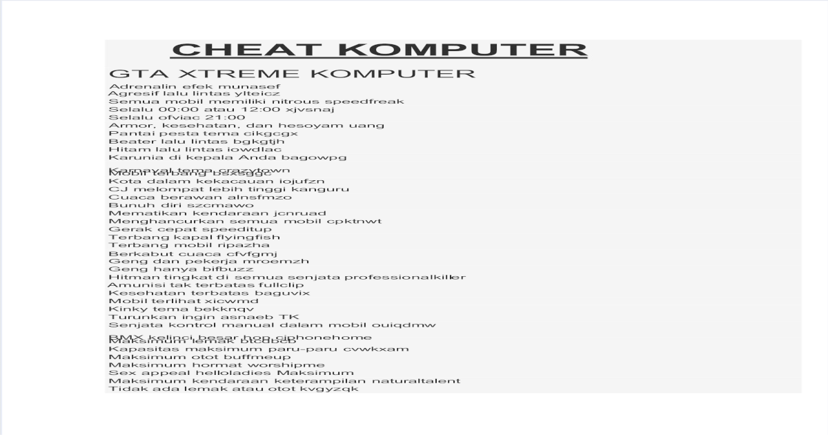 Cheat Gta Xtreme Rafli Pdf Document