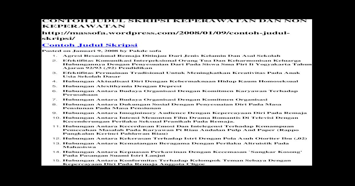 Contoh Judul Skripsi Keperawatan Dan Non Keperawatan Docx Document