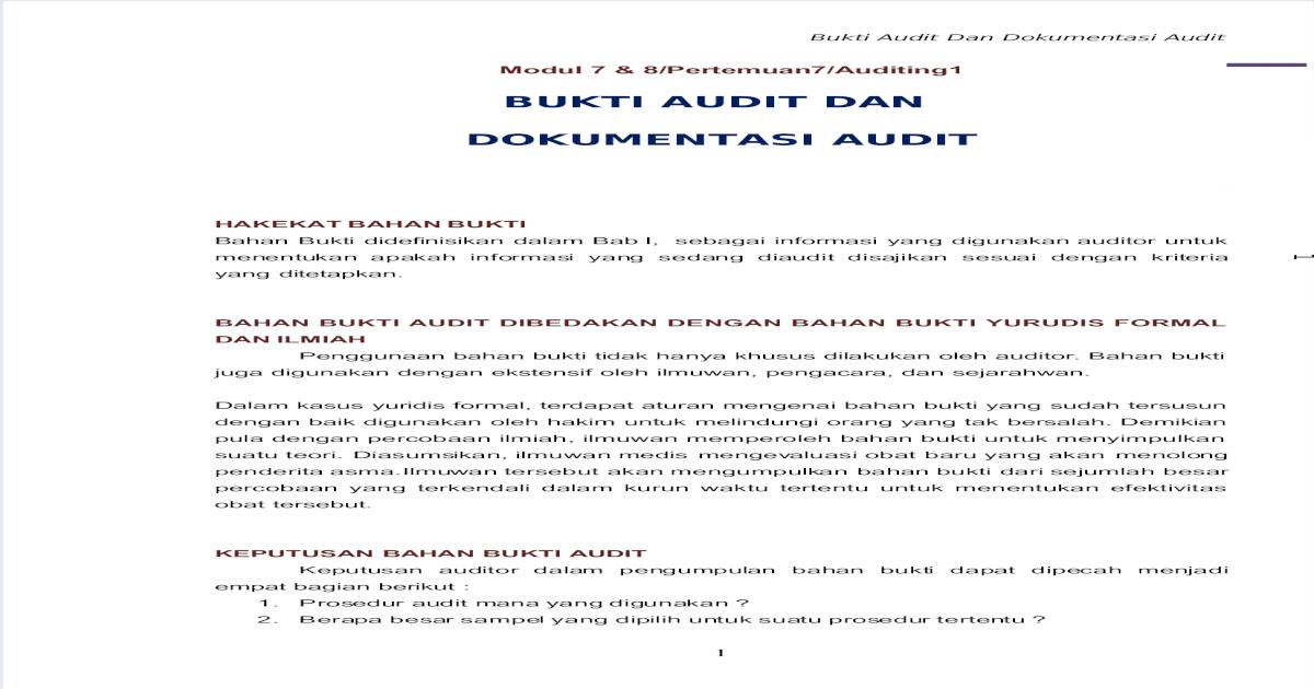 Bukti Audit N Dokumentasi Audit Pdf Document