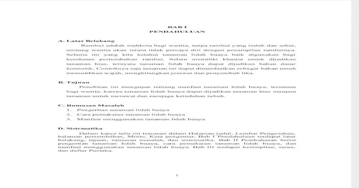 Bab I Lidah Buaya Safitriyana Pdf Document