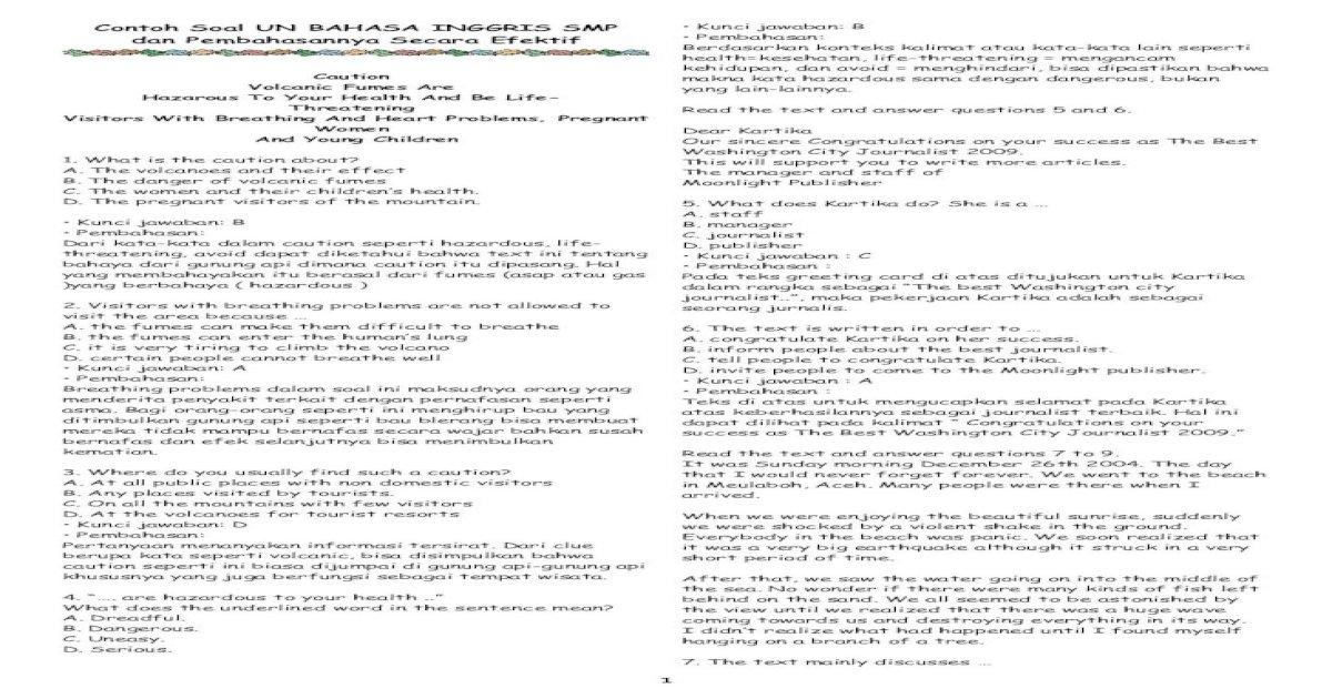 Contoh Soal Un Bahasa Inggris Smp Dan Pembahasannya Secara Efektif Pdf Document