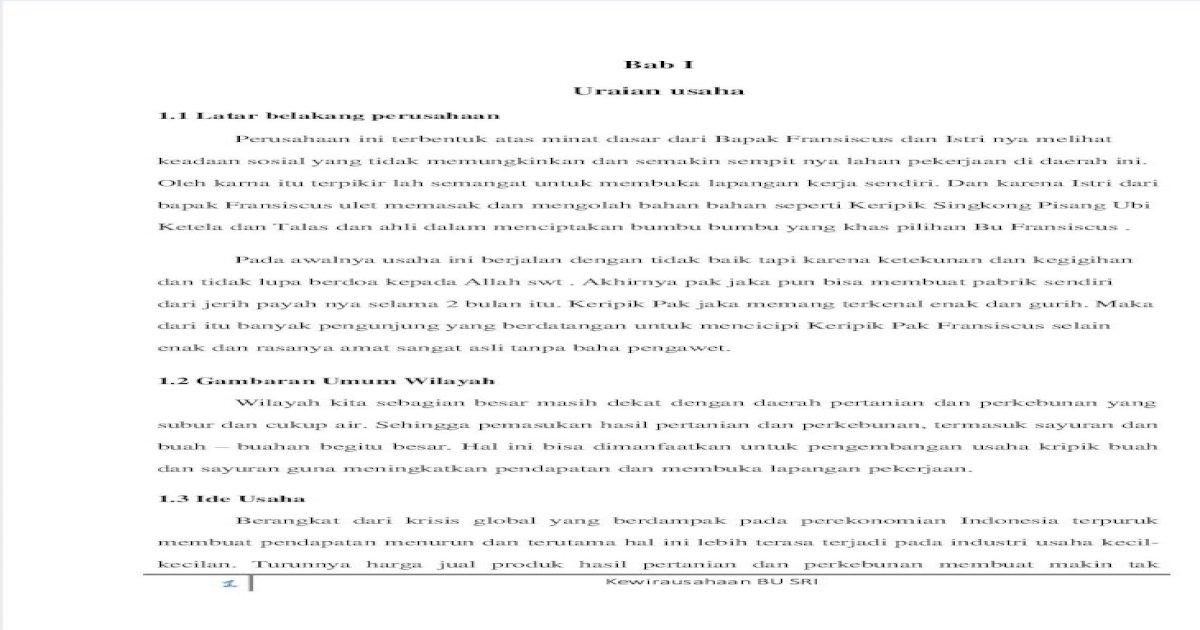 Proposal Usaha Keripik Singkong Pdf Ilustrasi