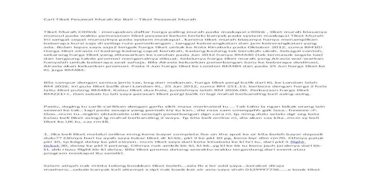 Cari Tiket Pesawat Murah Ke Bali Tiket Pesawat Murah2 Docx Document