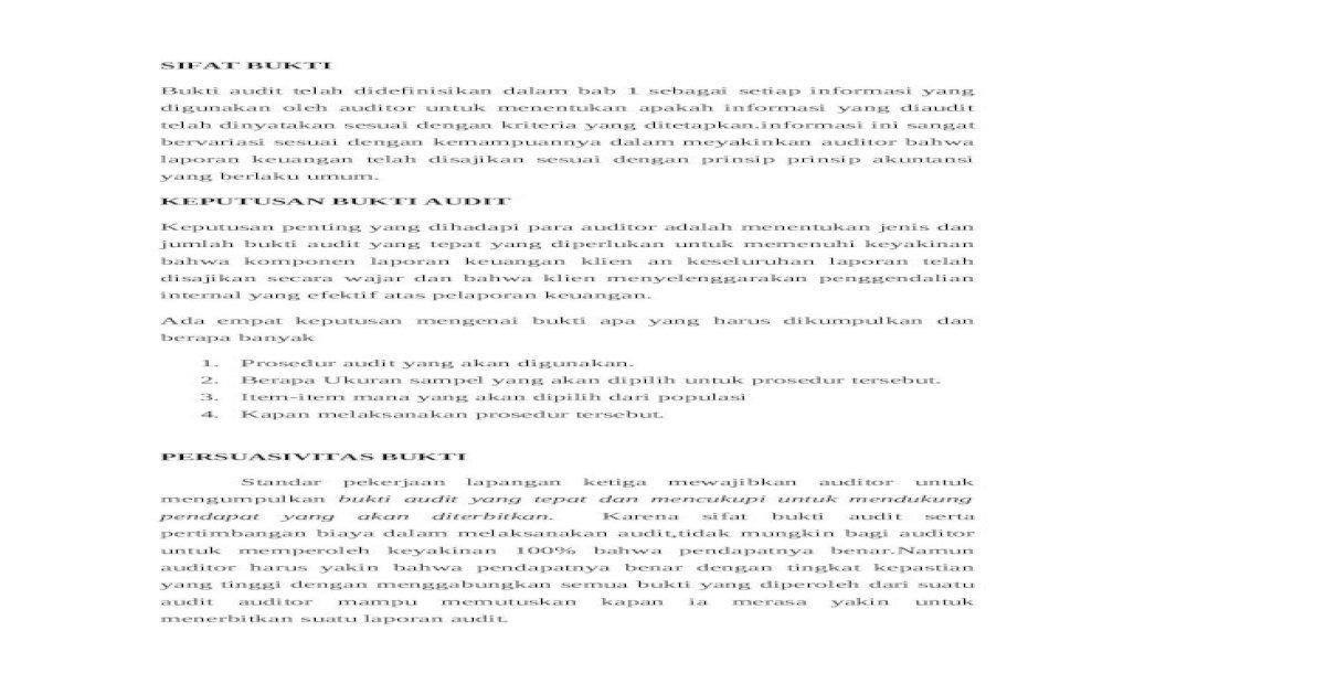 Bukti Audit Docx Docx Document