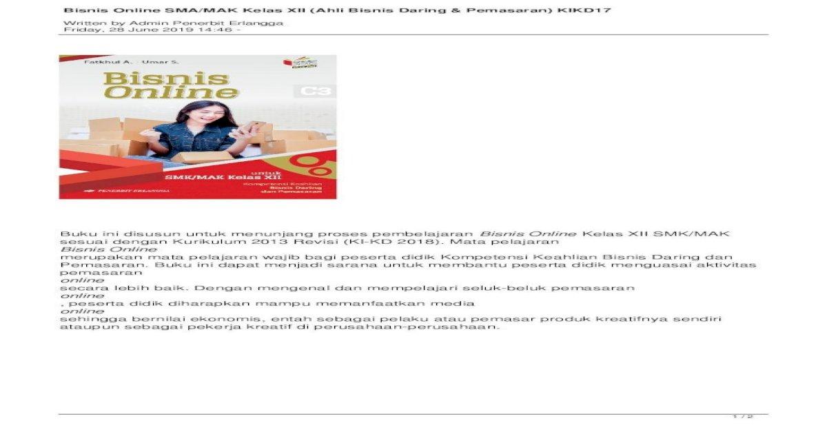 Bisnis Online SMA/MAK Kelas XII (Ahli Bisnis Online SMA ...