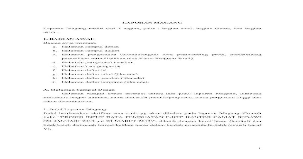 Panduan Penulisan Laporan Magang Prodi Manajemen Informatika Pdf Document