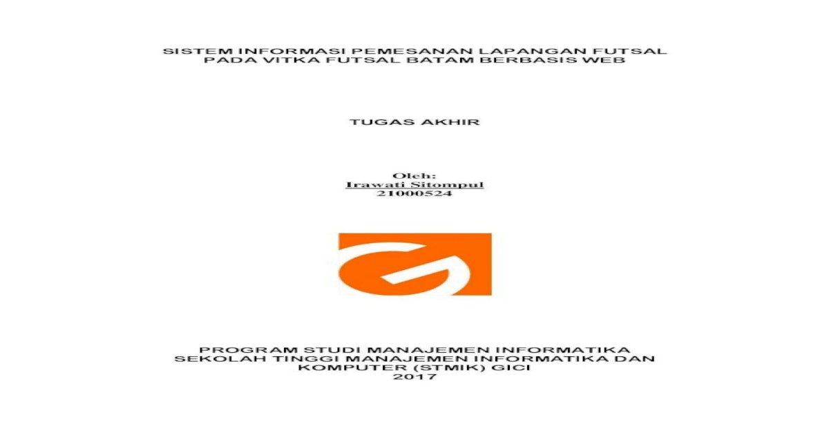 Sistem Informasi Pemesanan Lapangan Futsal Pada Judul Tugas