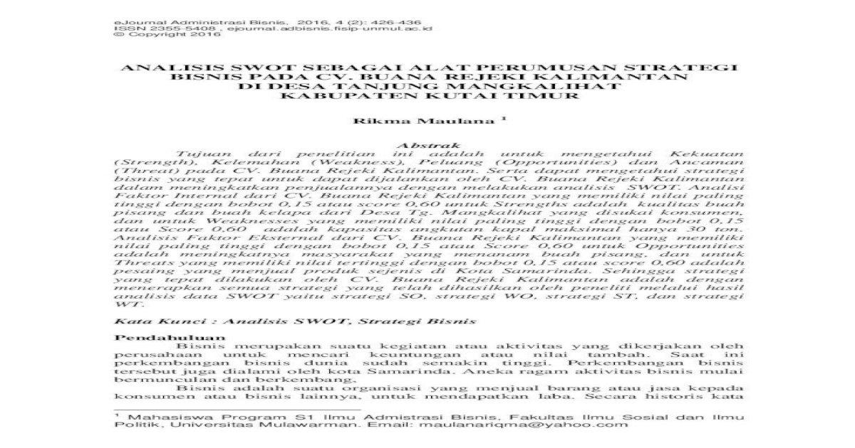 Ejournal Administrasi Bisnis Fisip Unmul 2021 - E Jurnal