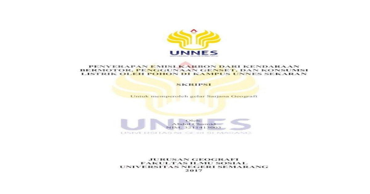 Penyerapan Emisi Karbon Dari Kendaraan Lib Unnes Ac Id 31751 1 Penggunaan Genset Dan Konsumsi Pdf Document