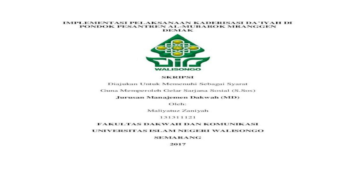 Implementasi Pelaksanaan Kaderisasi Da Iyah Di Full