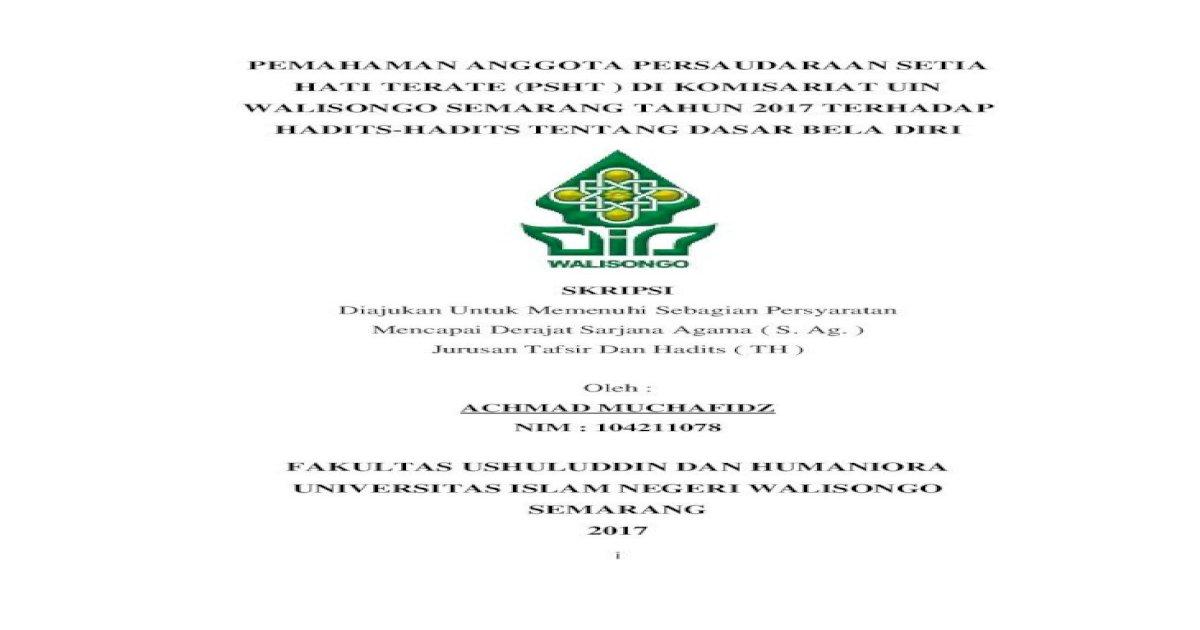 Pemahaman Anggota Persaudaraan Setia Hati Terate Kata Sandang Yang Diikuti Oleh Huruf Syamsiah Ditransliterasikan Pdf Document