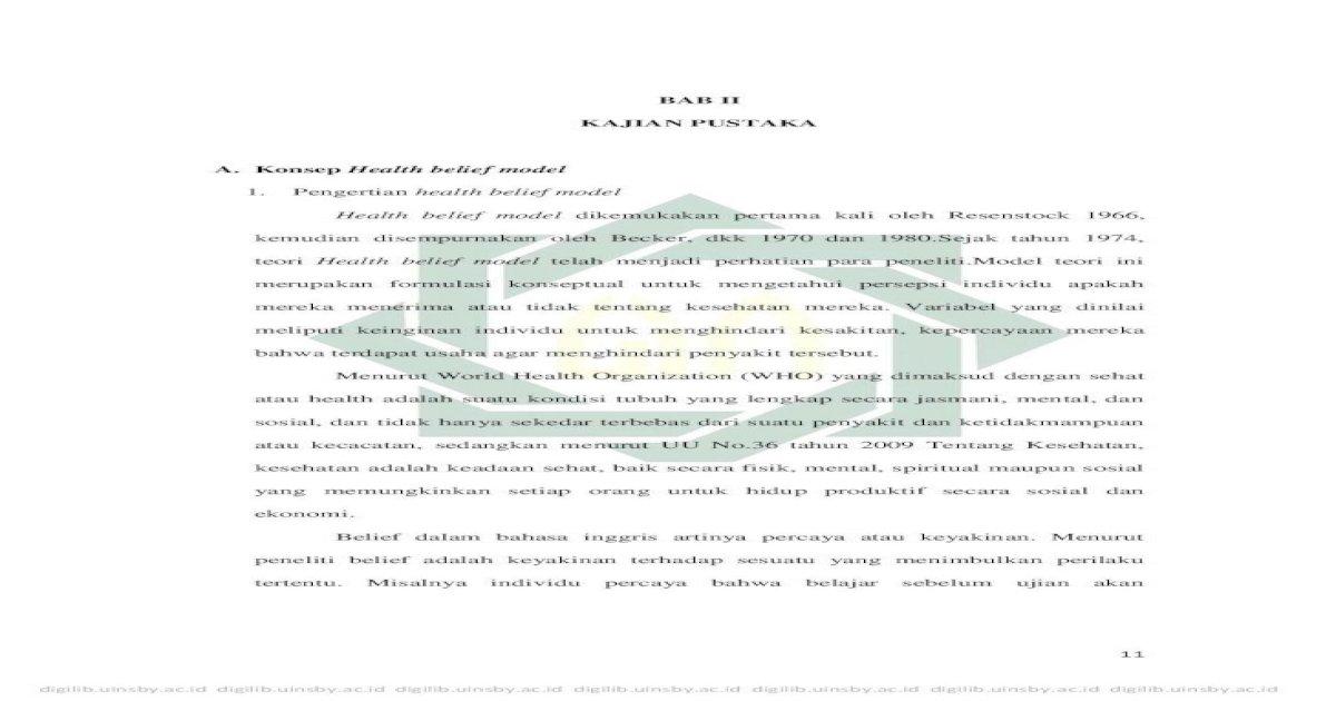 Bab Ii Kajian Pustaka A Konsep Health Belief 2 Pdf Penelitian Yang Dilakukan Oleh Edmonds Dan Kawan Kawan Adalah Osteoporosis Edmonds Dkk 2012 Karakteristik Psikololgis Download Pdf
