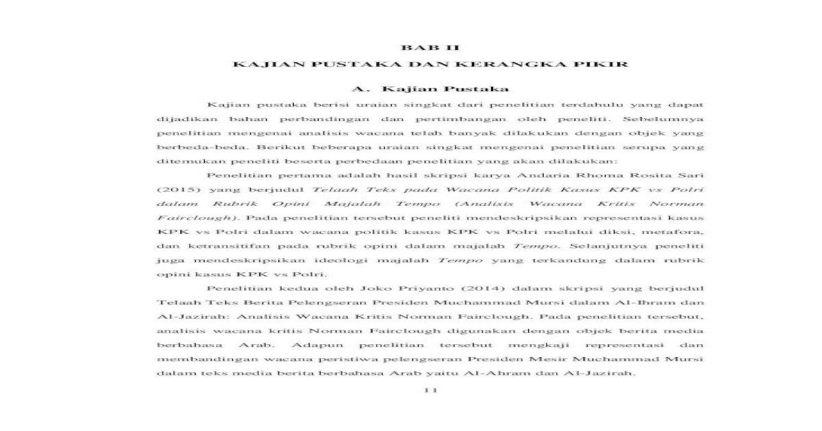 Bab Ii Kajian Pustaka Dan Kerangka Pikir A Analisis Wacana Kritis Norman Fairclough Digunakan Dengan Pdf Document
