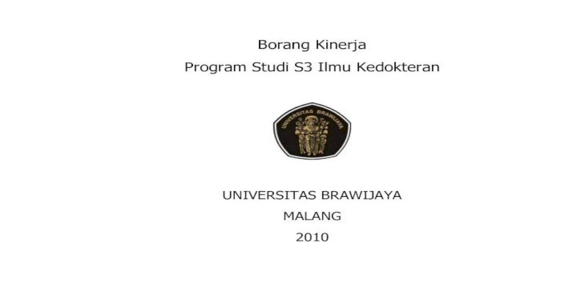 Borang Kinerja Program Studi S3 Ilmu Aim Poin 5 Isi S3 Pdf