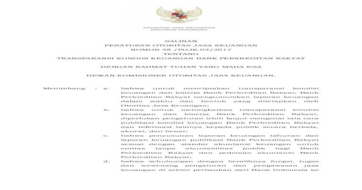 Salinan Transparansi Kondisi Keuangan Bank Dan Informasi Lainnya Kepada Publik Secara Berkala Pdf Document