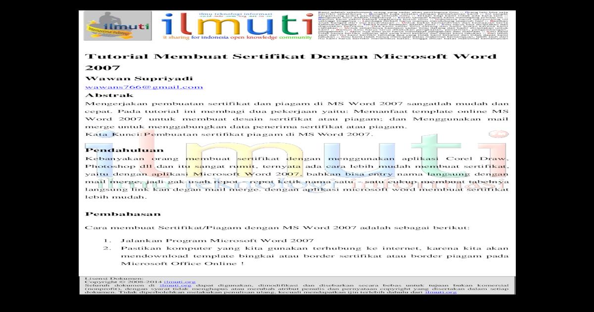 tutorial membuat sertifikat dengan microsoft word dokumen di dapat digunakan dimodifikasi dan disebarkan pdf document fdokumen