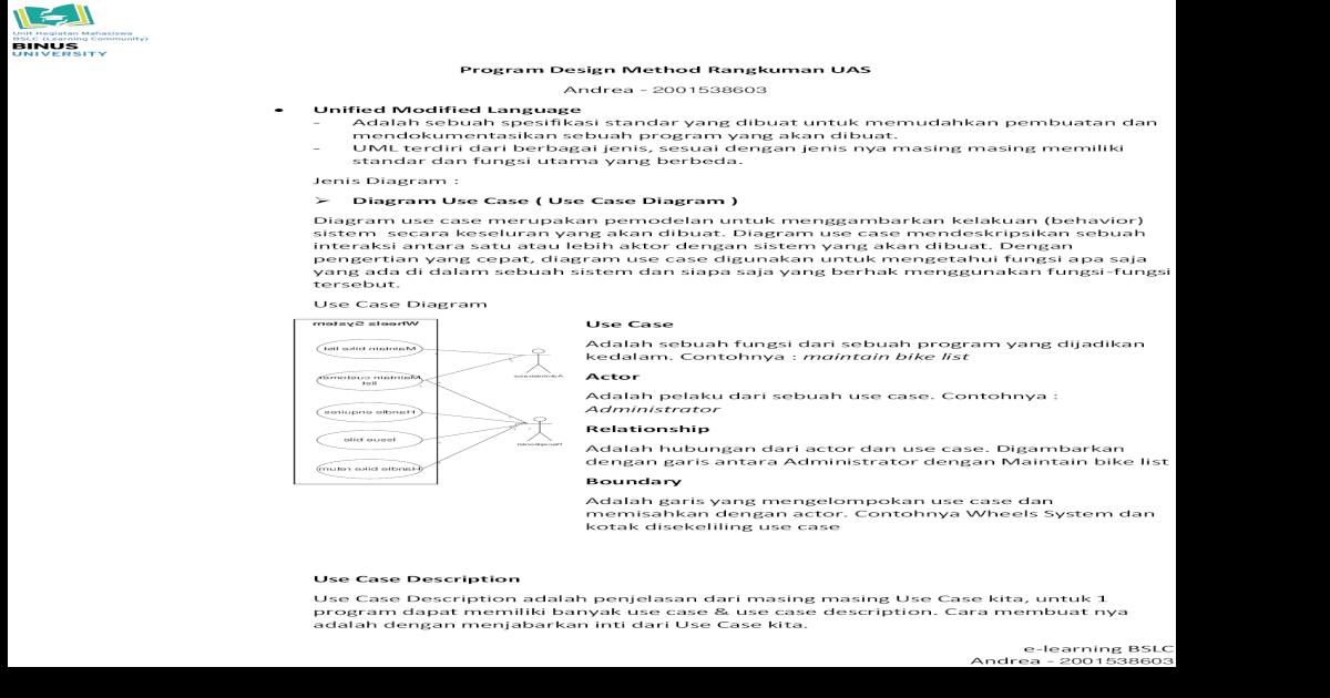 Program Design Method Rangkuman Uas Scdc Binus Ac Cara Membuat Nya Adalah Dengan Disamping Pdf Document