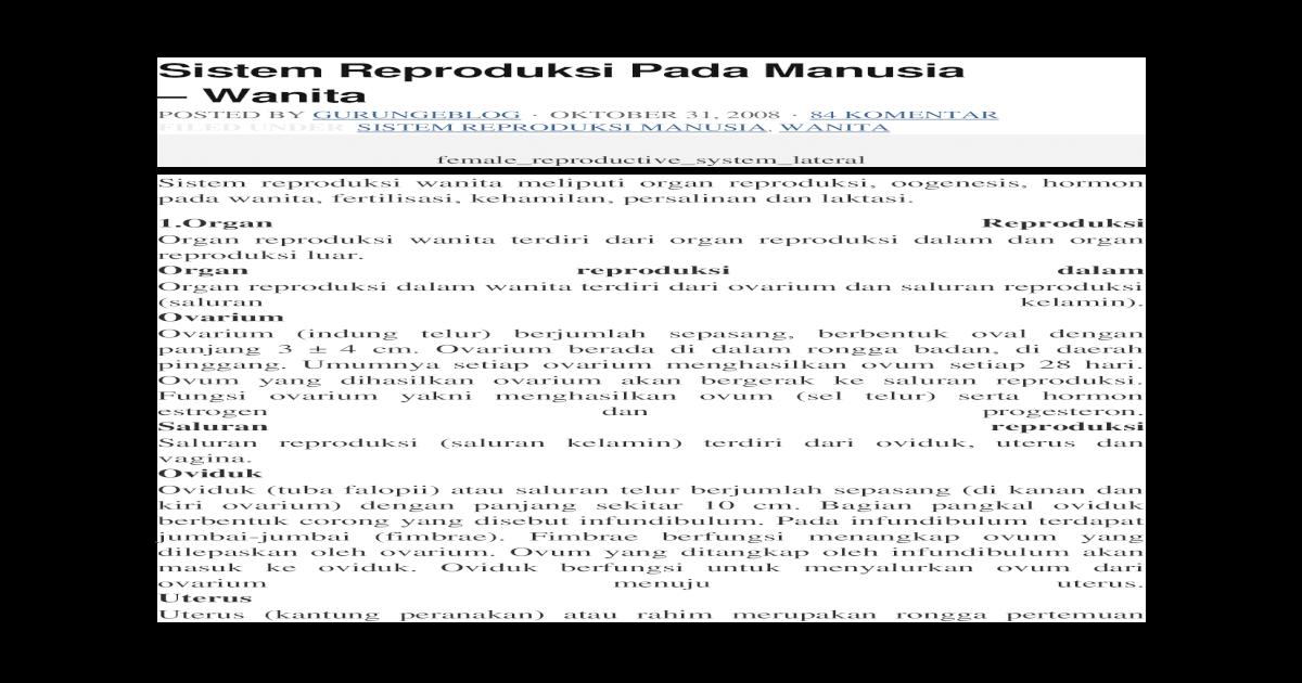 Sistem Reproduksi Pada Manusia Docx Document