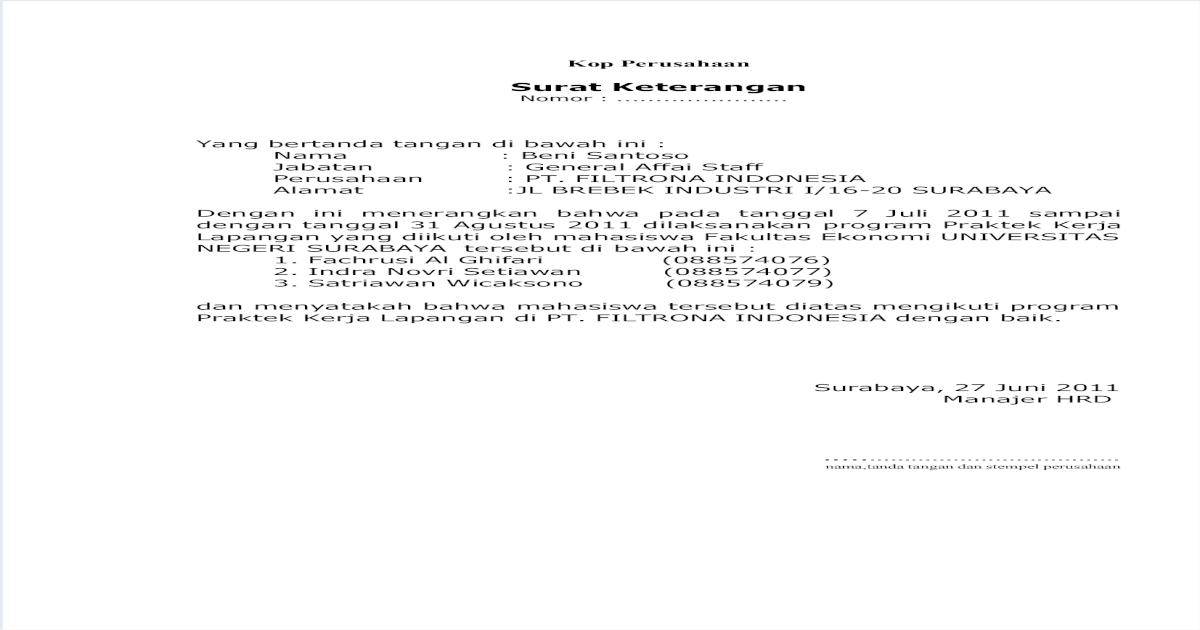 Surat Balasan Pkl Berhasil Pdf Document