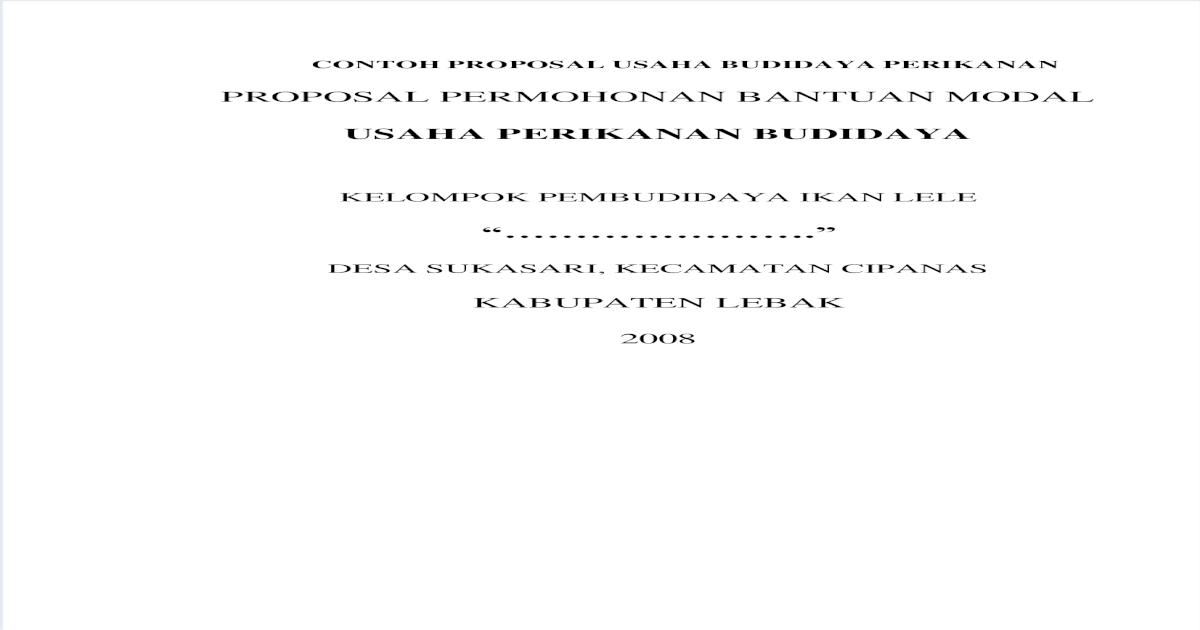 Contoh Proposal Usaha Budidaya Perikanan Pdf Document