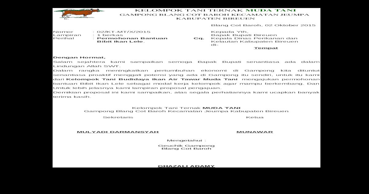 Permohonan Bantuan Bibit Ikan Air Tawar Docx Document