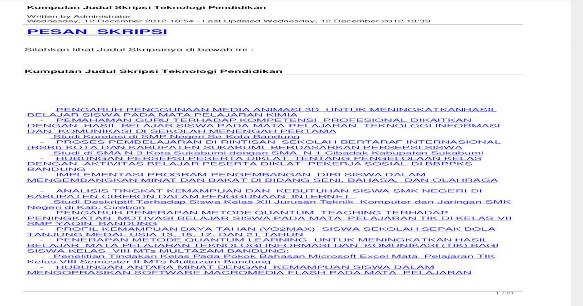 Kumpulan Judul Skripsi Teknologi Pendidikan Pdf Document