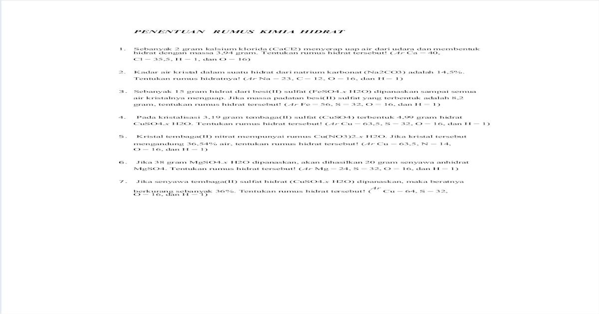 Penentuan Rumus Kimia Hidrat Pdf Document