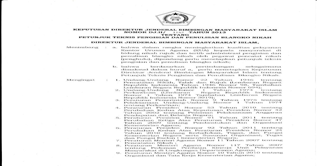 Juknis Pengisian Blangko Nikah Pdf Document