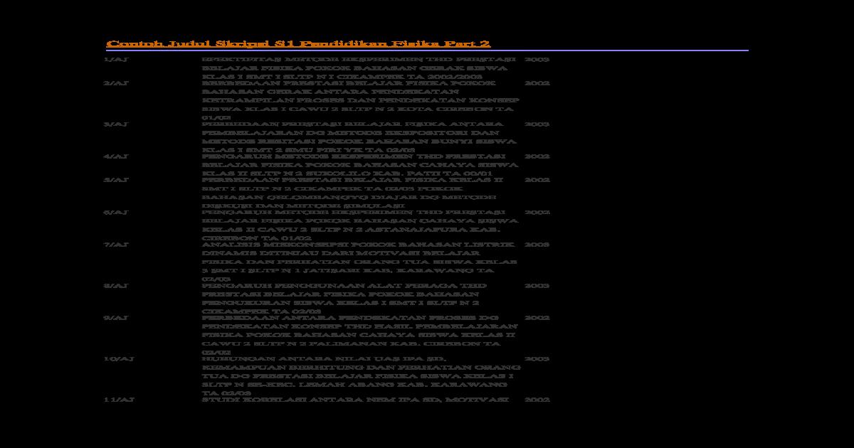 Contoh Judul Skripsi S1 Pendidikan Fisika Part 2 Docx Document