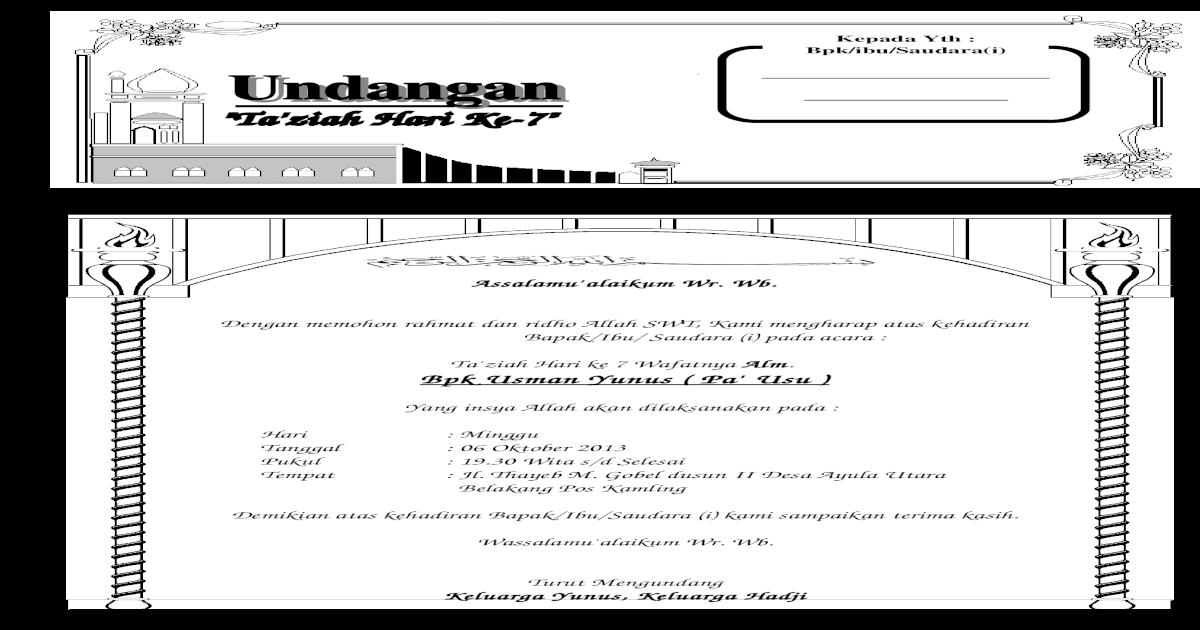Undangan Doa Arwah Hari 7 Pa Usu Doc Document