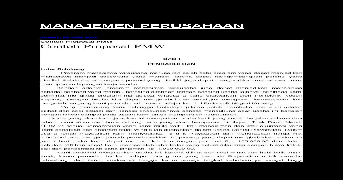 Contoh Pmw Docx Document