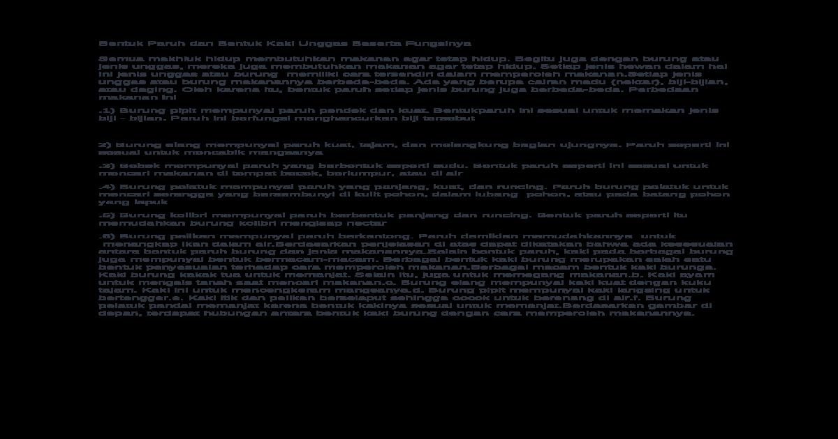 Bentuk Paruh Dan Bentuk Kaki Unggas Beserta Fungsinya Docx Document