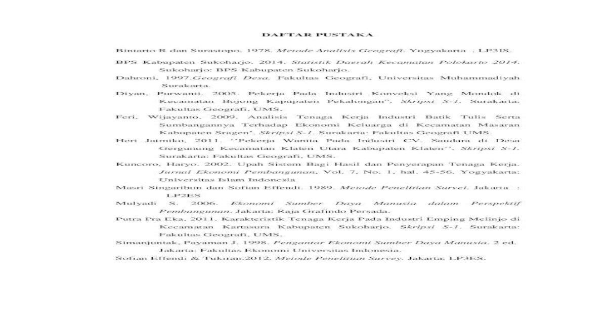 Daftar Pustaka Daftar Pustaka Bintarto R Dan Surastopo 1978 Metode Analisis Geografi Pdf Document