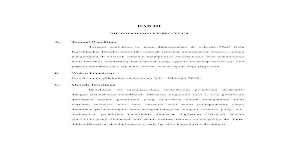 Bab Iii 3 Pdf Sampling Purposive Sampling Adalah Teknik Penentuan Sampel Dengan Pertimbangan Pdf Document