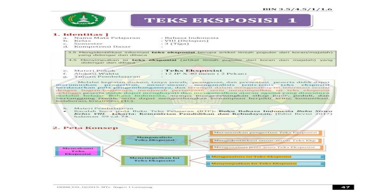 Teks Eksposisi 1 Teks Eksposisi Di Dalamnya Memuat Penilaian Dorongan Atau Ajakan Tertentu Kepada Pdf Document