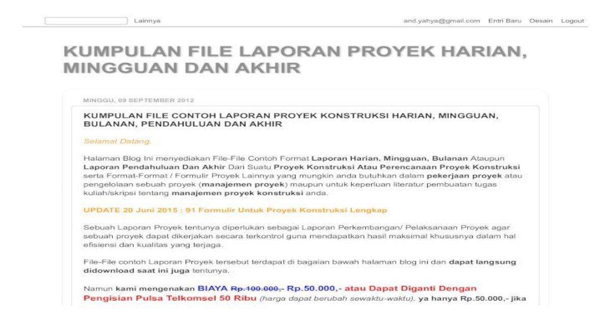 Kumpulan File Laporan Proyek Harian Mingguan Dan Laporan Akhir Pdf Document