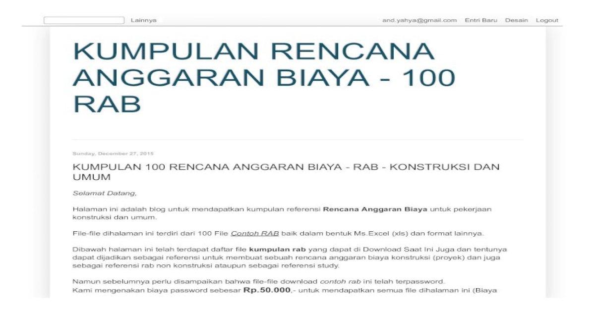 Kumpulan 100 Rencana Anggaran Biaya Rab Konstruksi Dan Umum Pdf Document