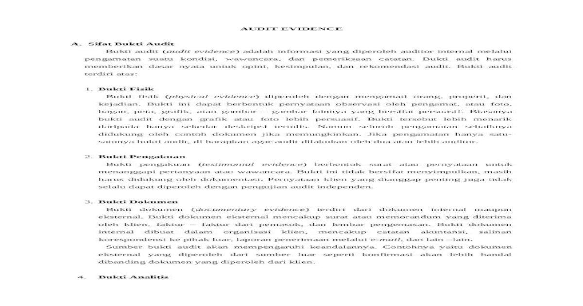 Audit Evidence Docx Document