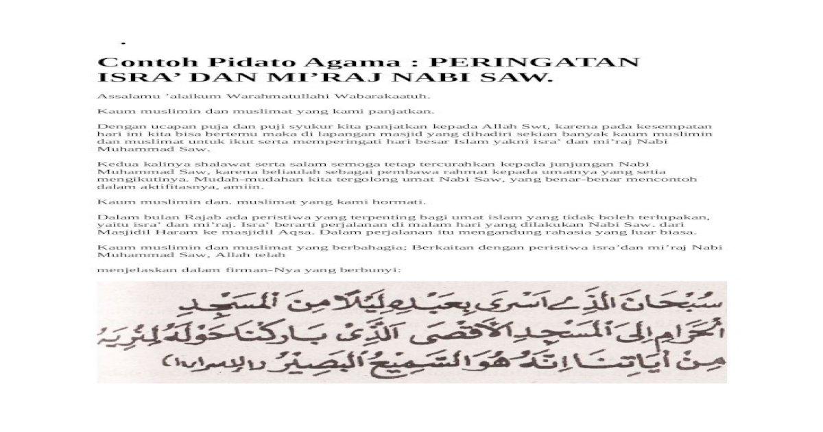 Pidato Isra Mi'raj Yang Singkat - Contoh Ceramah Tentang ...