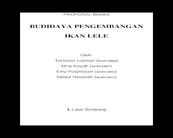 Proposal Usaha Ikan Lele Doc Document