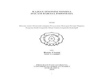 Kajian Sinonim Nomina Dalam Bahasa Indonesia Retno Pdf Document